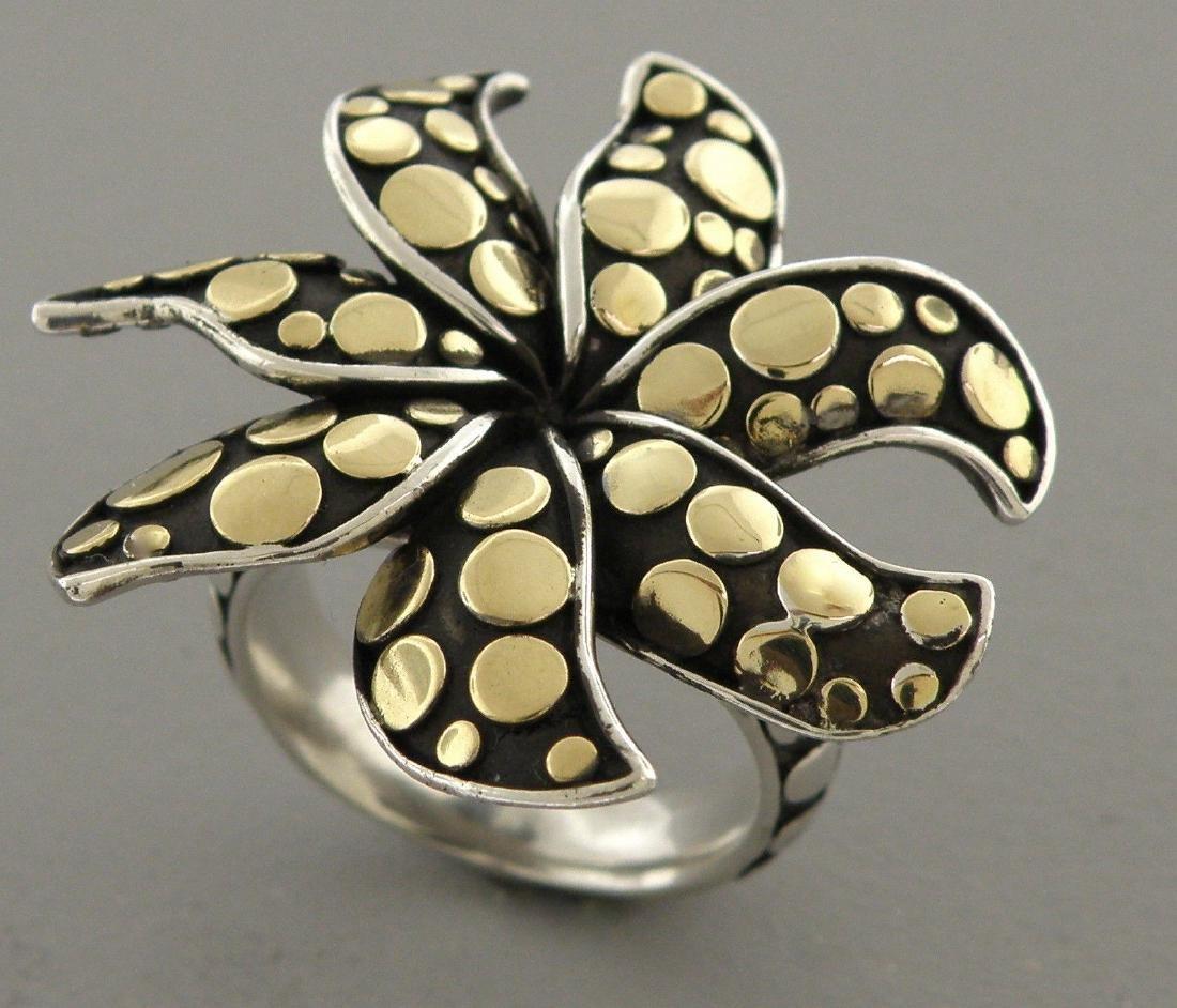 JOHN HARDY 18K GOLD STERLING SILVER FLOWER RING - 2