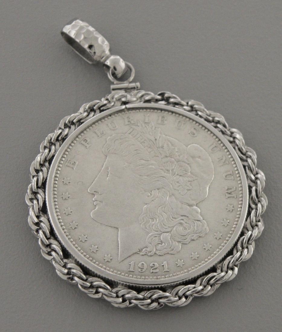 VINTAGE 1921 DOLLAR COIN SILVER PENDANT