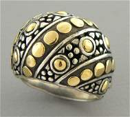 JOHN HARDY 18K GOLD SILVER LARGE DOME COCKTAIL DOT RING