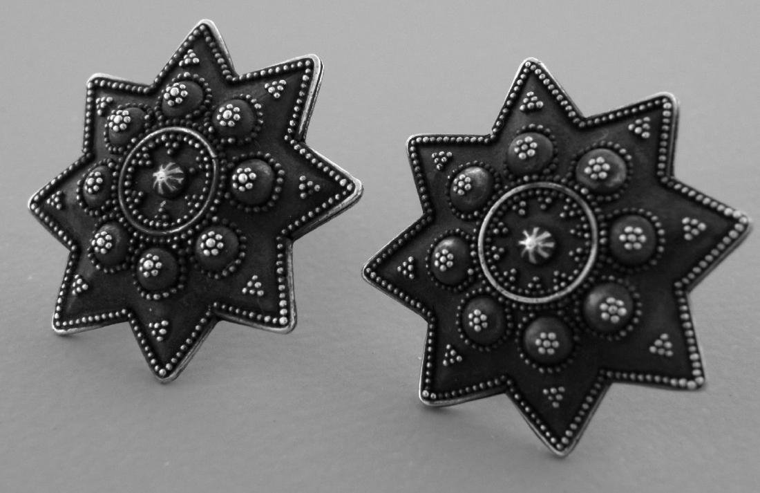 VINTAGE JOHN HARDY STERLING SILVER LARGE STAR EARRINGS