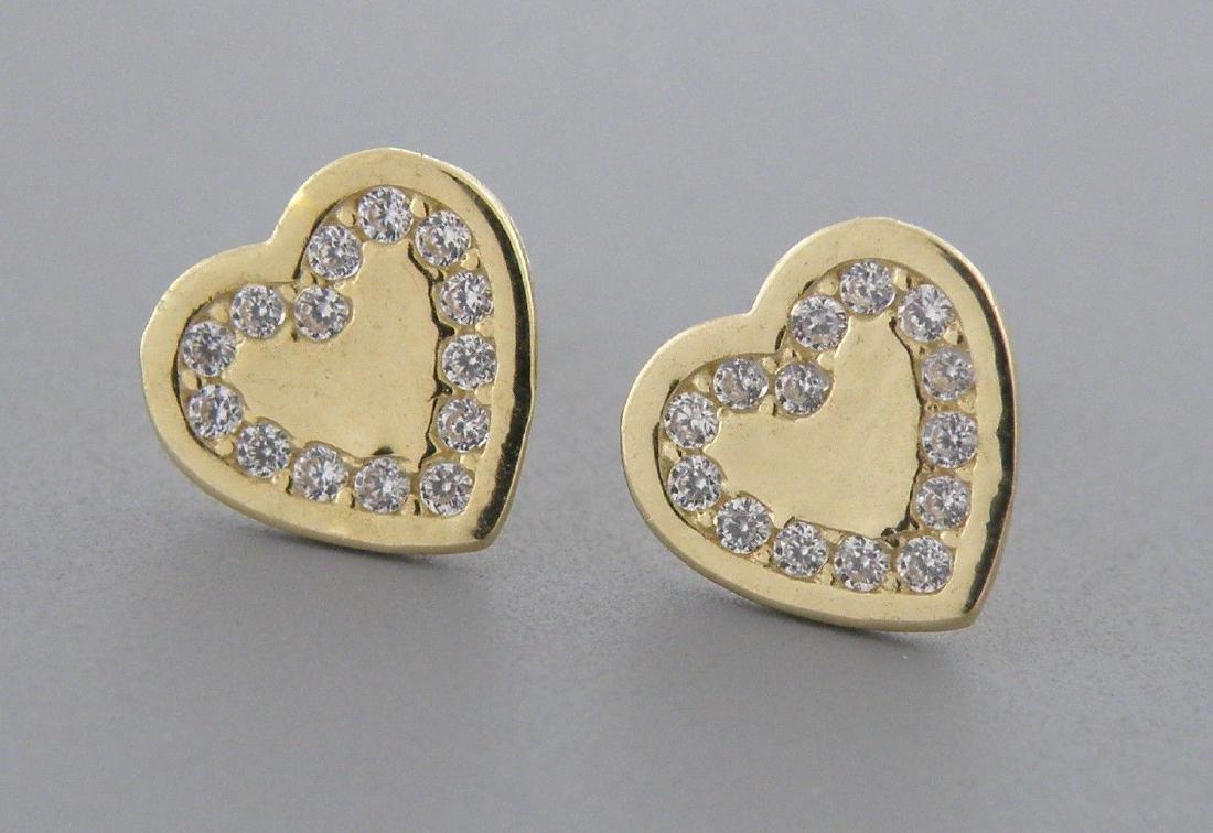 NEW 14K YELLOW GOLD CZ GIRLS BABY STUD HEART EARRINGS