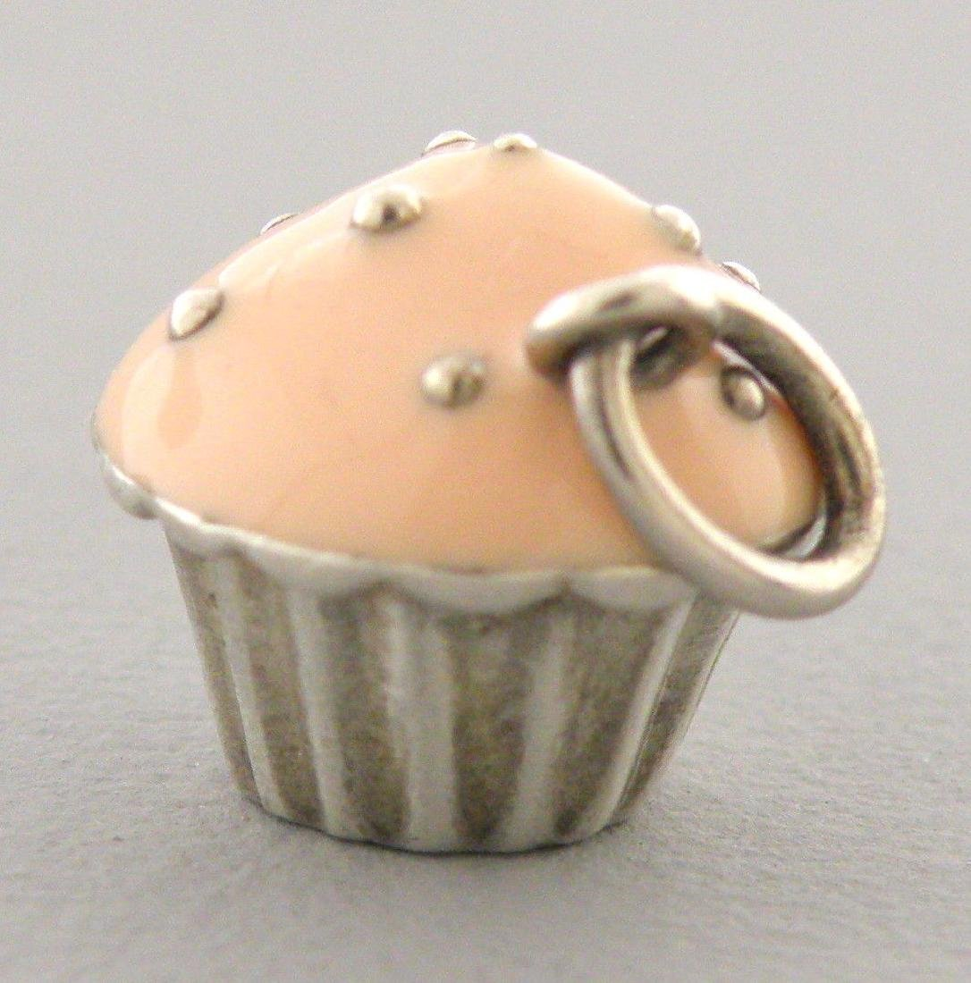 TIFFANY & Co. STERLING SILVER PINK ENAMEL CUPCAKE CHARM