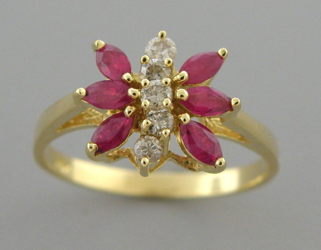 14K YELLOW GOLD DIAMOND & RUBY BUTTERFLY RING