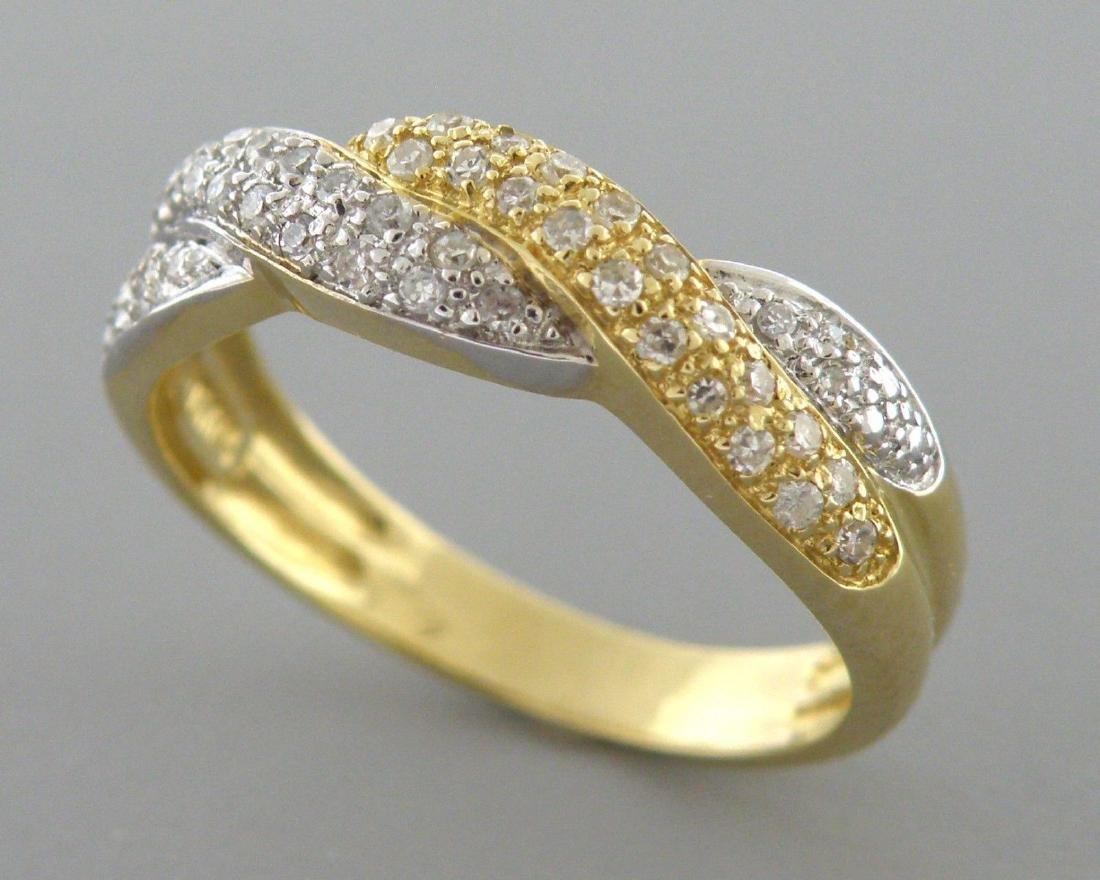 14K YELLOW WHITE GOLD DIAMOND LADIES TWIST RING 0.46CT