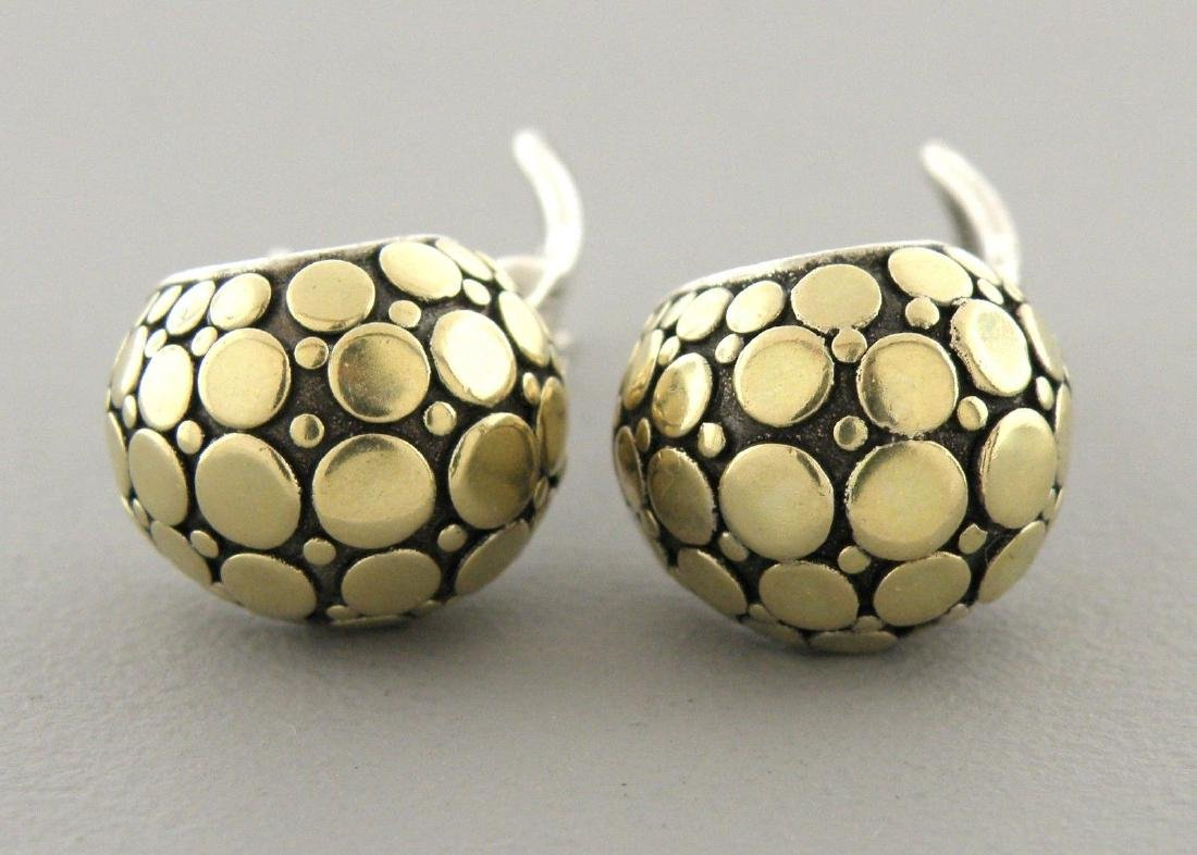JOHN HARDY 18K GOLD STERLING SILVER DOT J EARRINGS