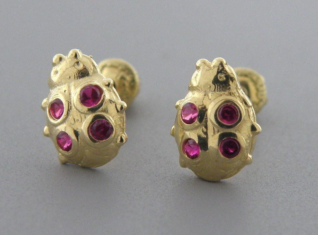 60523a49b5966 NEW 14K GOLD CZ BABY GIRLS STUD RED LADYBUG EARRINGS - Jul 14, 2019 ...