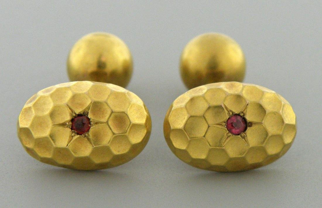 ANTIQUE 14K YELLOW GOLD RUBY CUFFLINKS BEAUTIFUL DESIGN