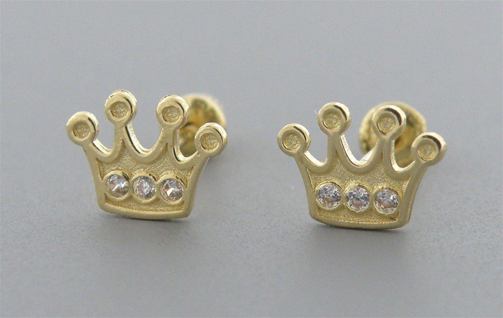 14K YELLOW GOLD CZ GIRLS BABY STUD TIARA CROWN EARRINGS