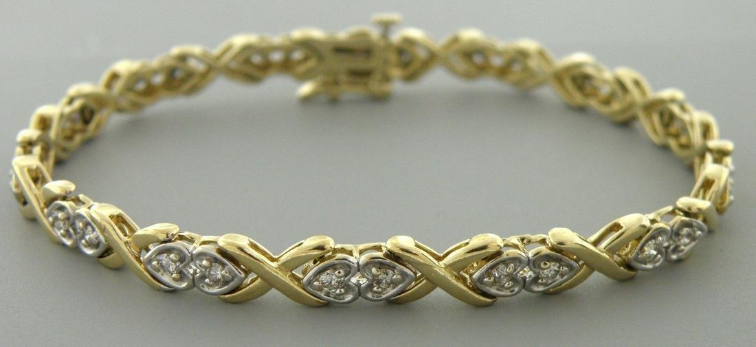 14K TWO TONE GOLD DIAMOND HEART LADIES TENNIS BRACELET