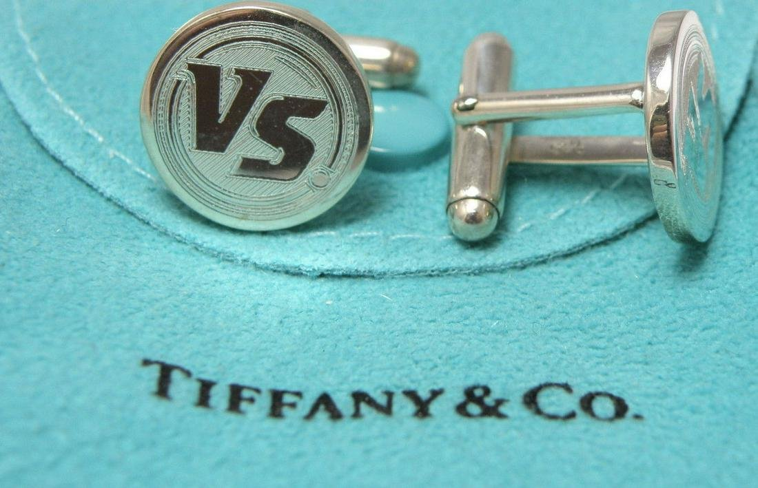 TIFFANY & Co. STERLING SILVER VS. CUFFLINKS WITH POUCH