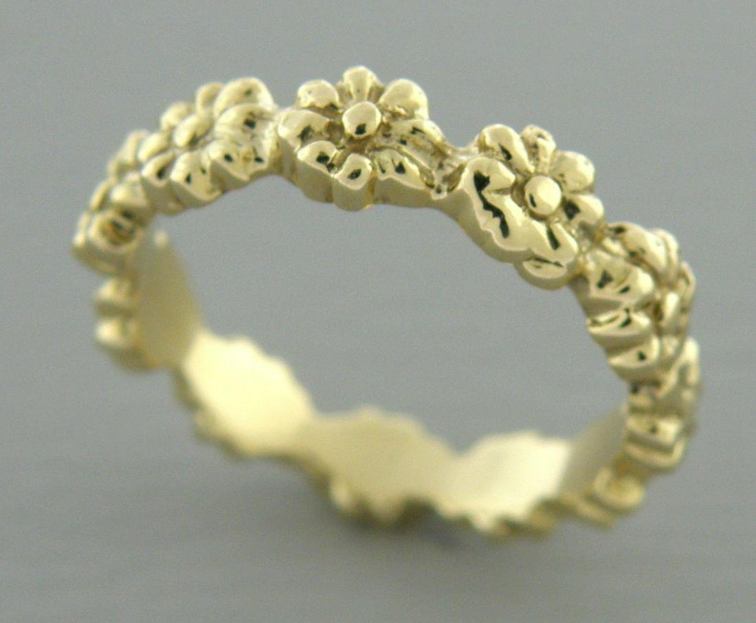 VINTAGE 14K GOLD RING FLOWER ETERNITY DESIGN BAND RING