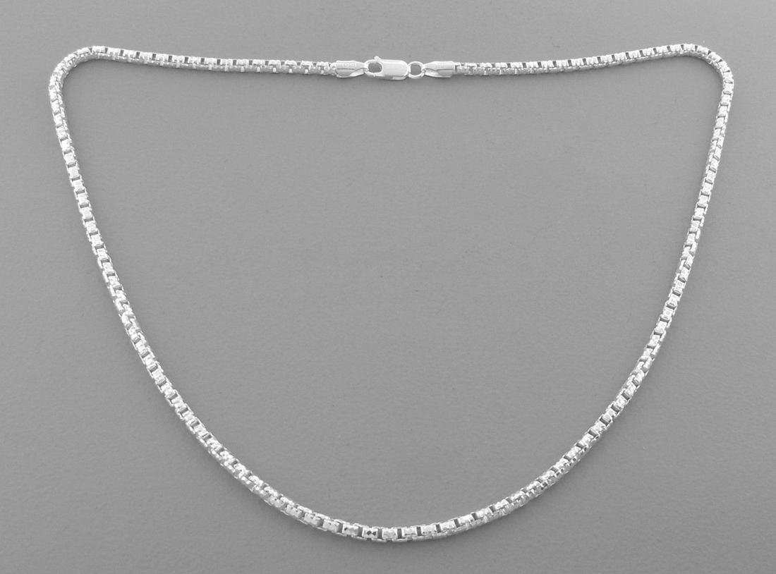 NEW STERLING SILVER ROUND TEXTURED BOX CHAIN NECKLACE