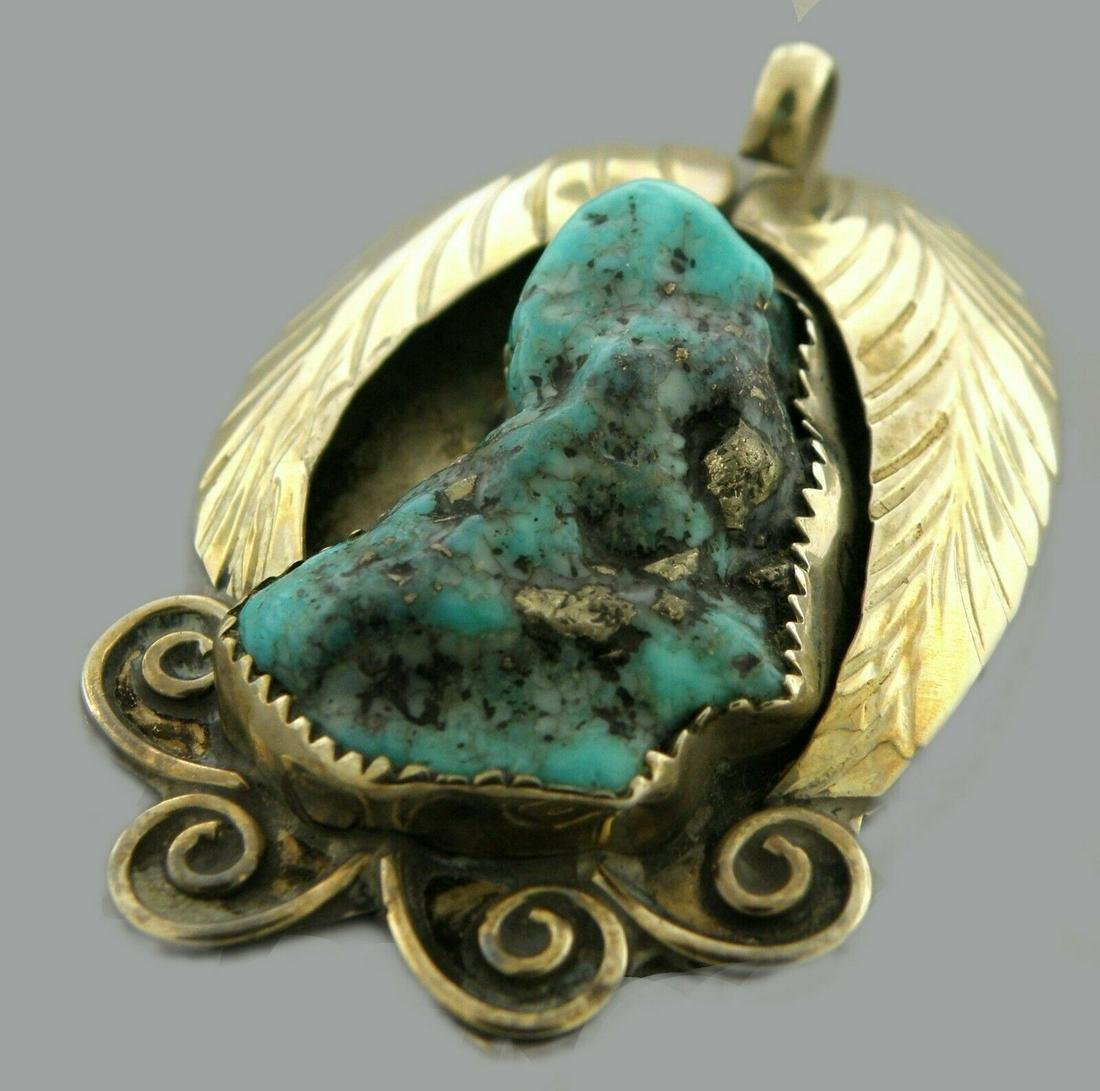 VINTAGE LARGE STERLING SILVER ROUGH TURQUOISE PENDANT