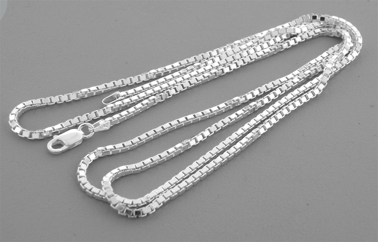"""NEW STERLING SILVER 2mm WIDE BOX CHAIN NECKLACE 30"""""""