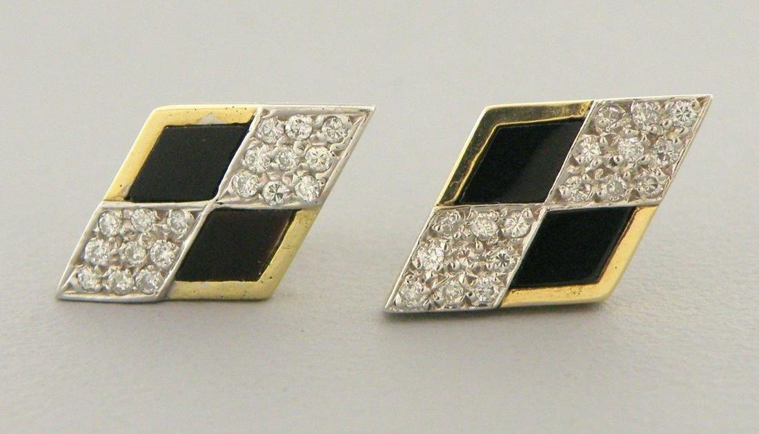 DECO VINTAGE 14K YELLOW GOLD DIAMOND ONYX STUD EARRINGS