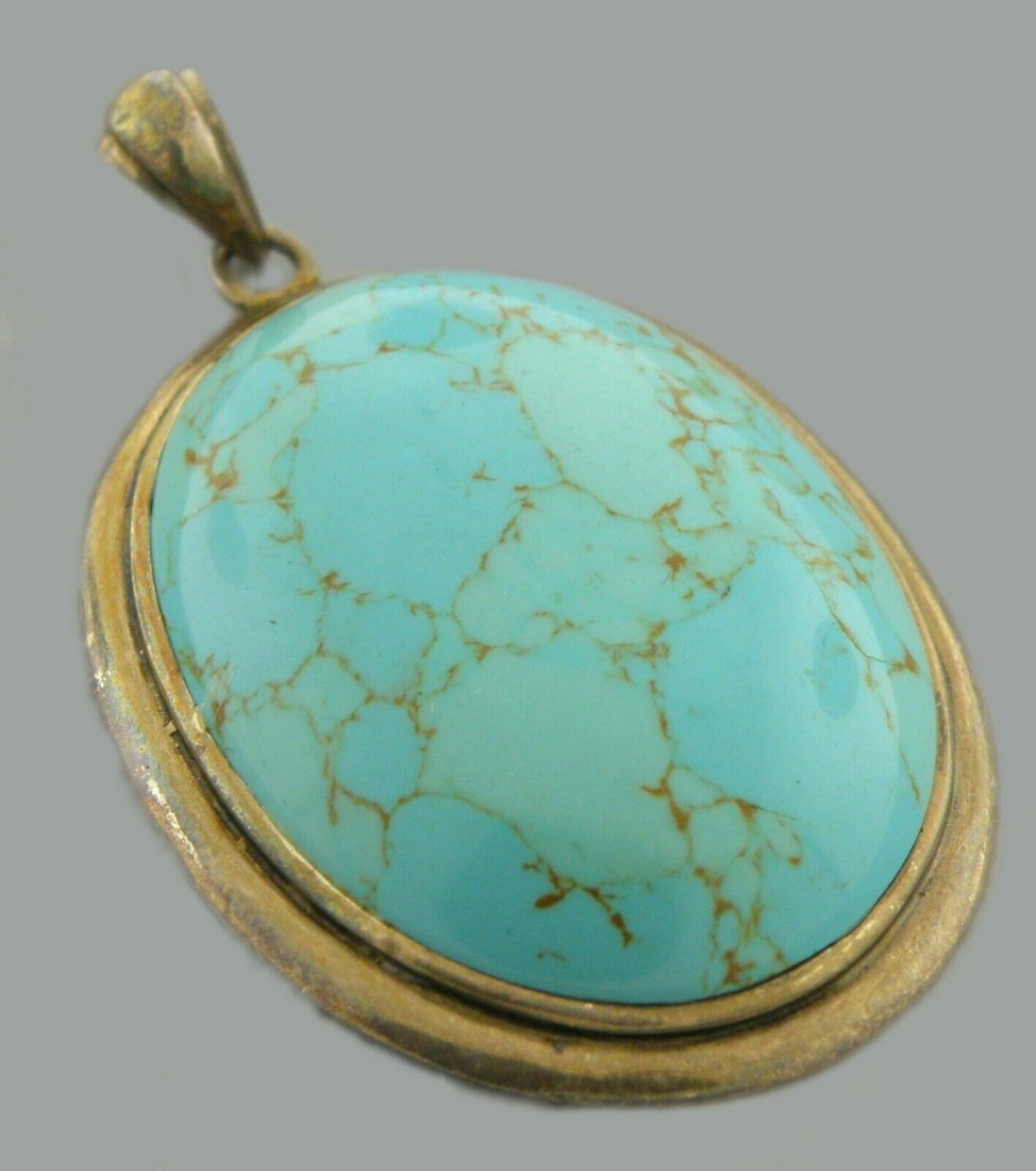 VINTAGE BEAUTIFUL STERLING SILVER TURQUOISE PENDANT GSJ