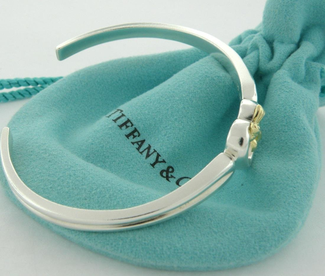 TIFFANY & Co. 18K GOLD STERLING SILVER BOW CUFF BANGLE