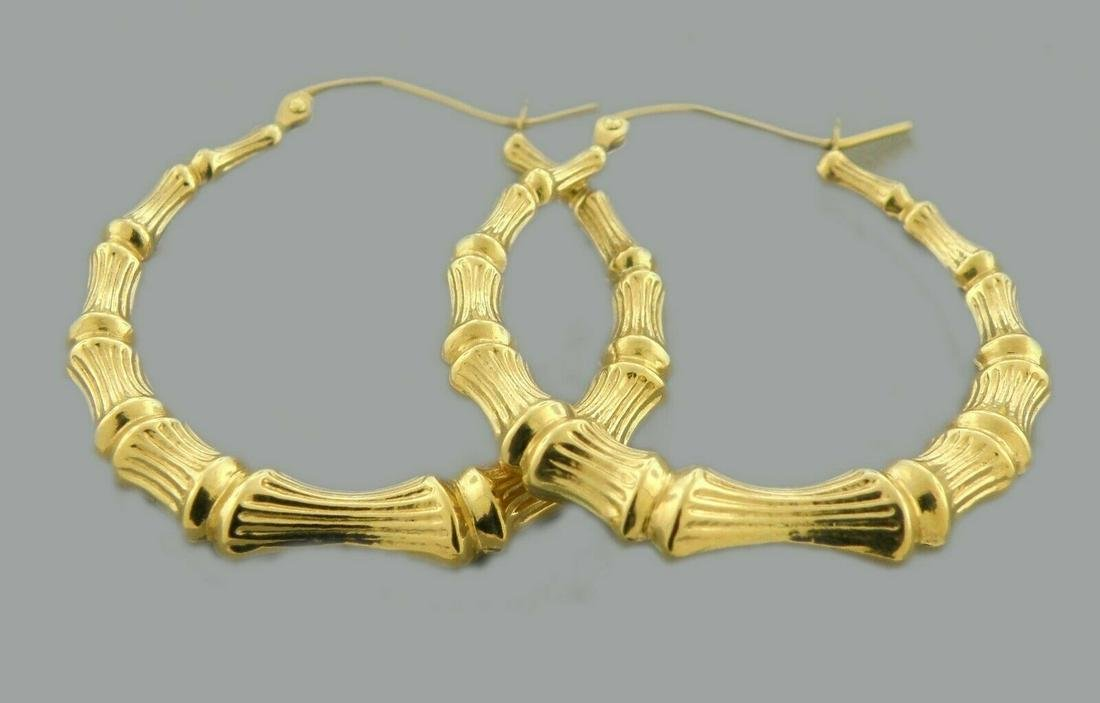 NEW 14K YELLOW GOLD LARGE BAMBOO HOOP EARRINGS