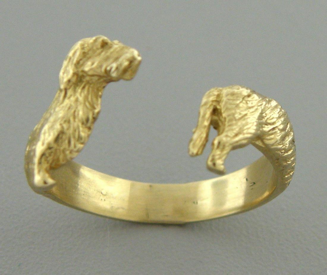 18K YELLOW GOLD DACHSHUND DOG BAND WRAP RING SIZE 8