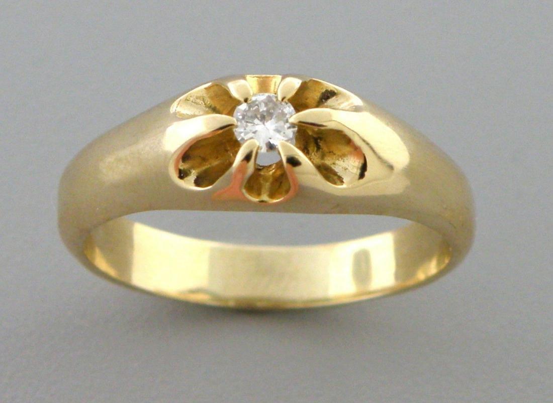 14K Y/ GOLD MEN\'S SIGNET DIAMOND BELCHER RING SIZE 11