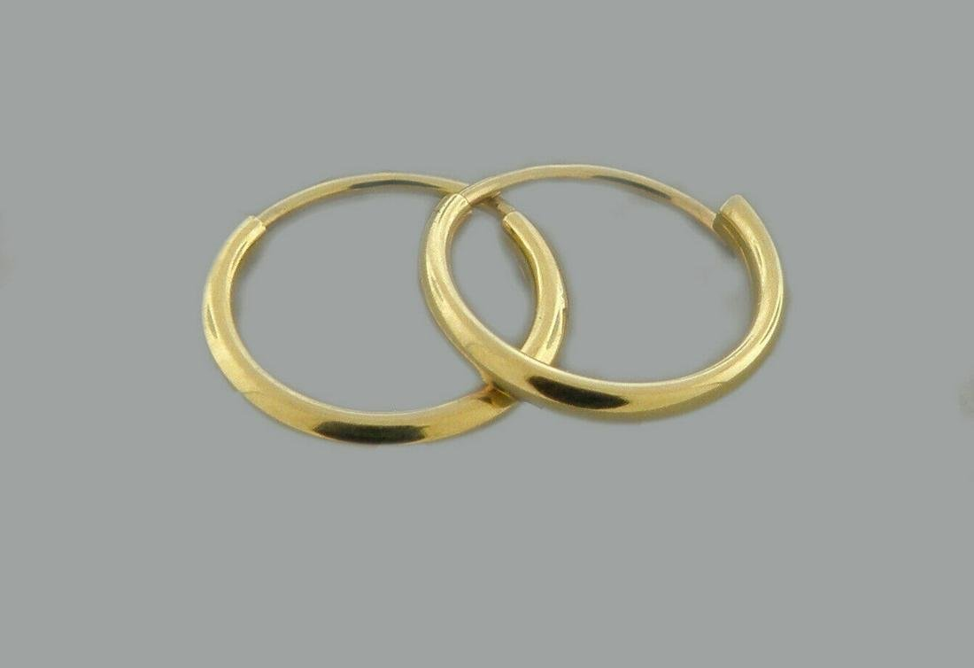 NEW 14K YELLOW GOLD SMALL BABY ROUND TUBE HOOP EARRINGS