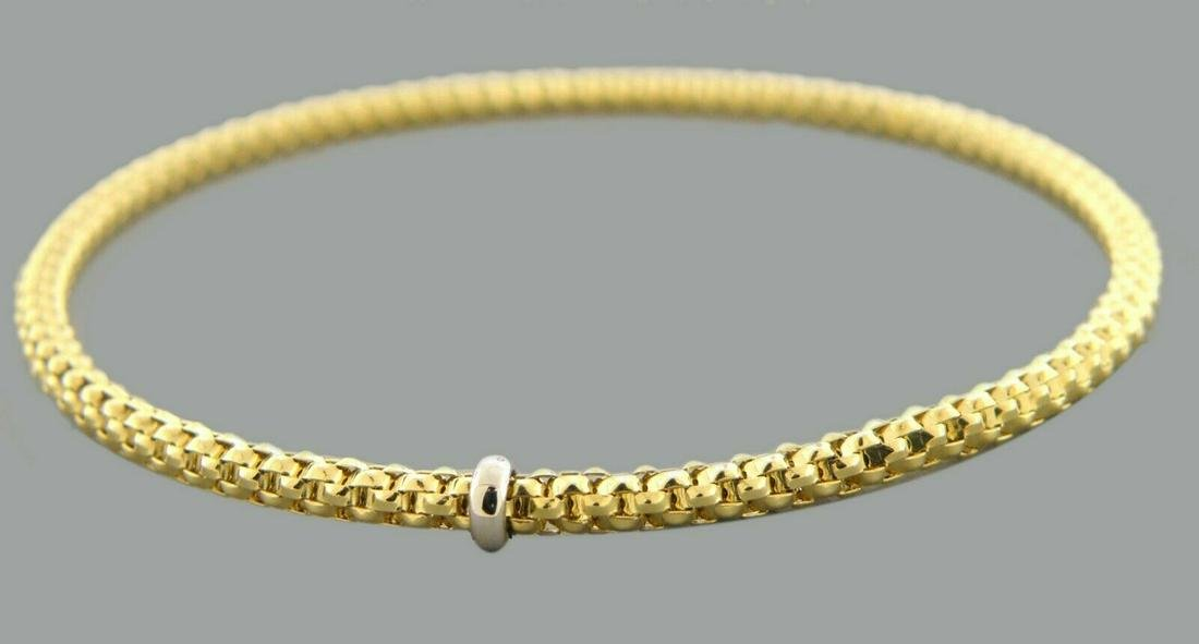 NEW 14K YELLOW GOLD LADIES STRETCHABLE BANGLE BRACELET