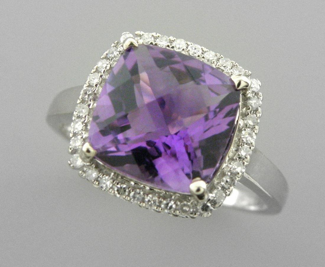 NEW 14K WHITE GOLD AMETHYST DIAMOND HALO COCKTAIL RING