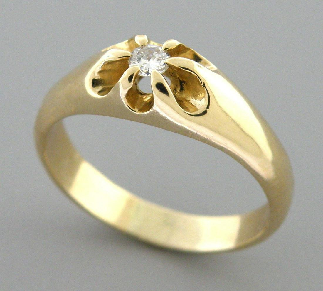 14K Y/ GOLD MEN'S SIGNET DIAMOND BELCHER RING SIZE 10