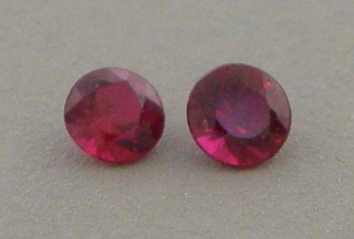 2.2mm ROUND CUT MATCHING PAIR LOOSE NATURAL RUBY