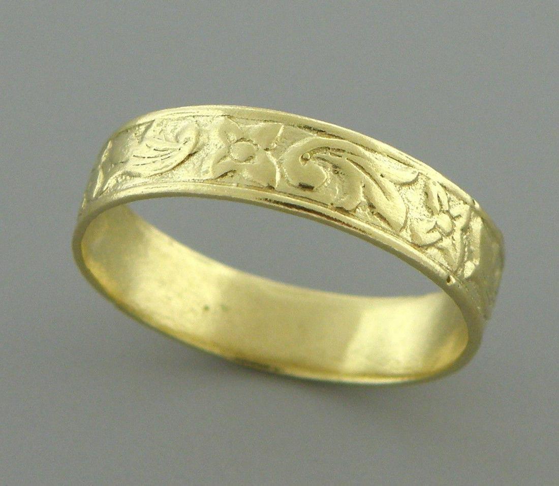 18K Y/ GOLD RING FULL ETERNITY FLOWER WEDDING BAND