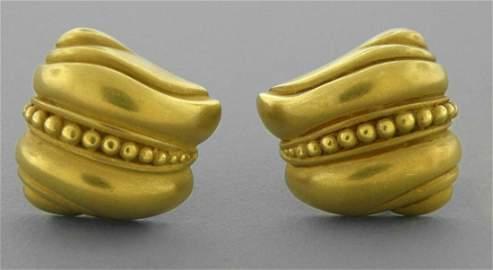 KIESELSTEIN CORD 18K GREEN GOLD CAVIAR LADIES EARRINGS