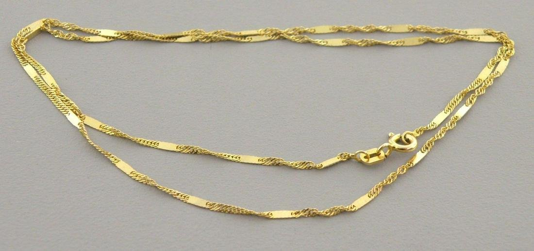 "NEW 14K YELLOW GOLD SINGAPORE CHAIN 18"" NECKLACE"
