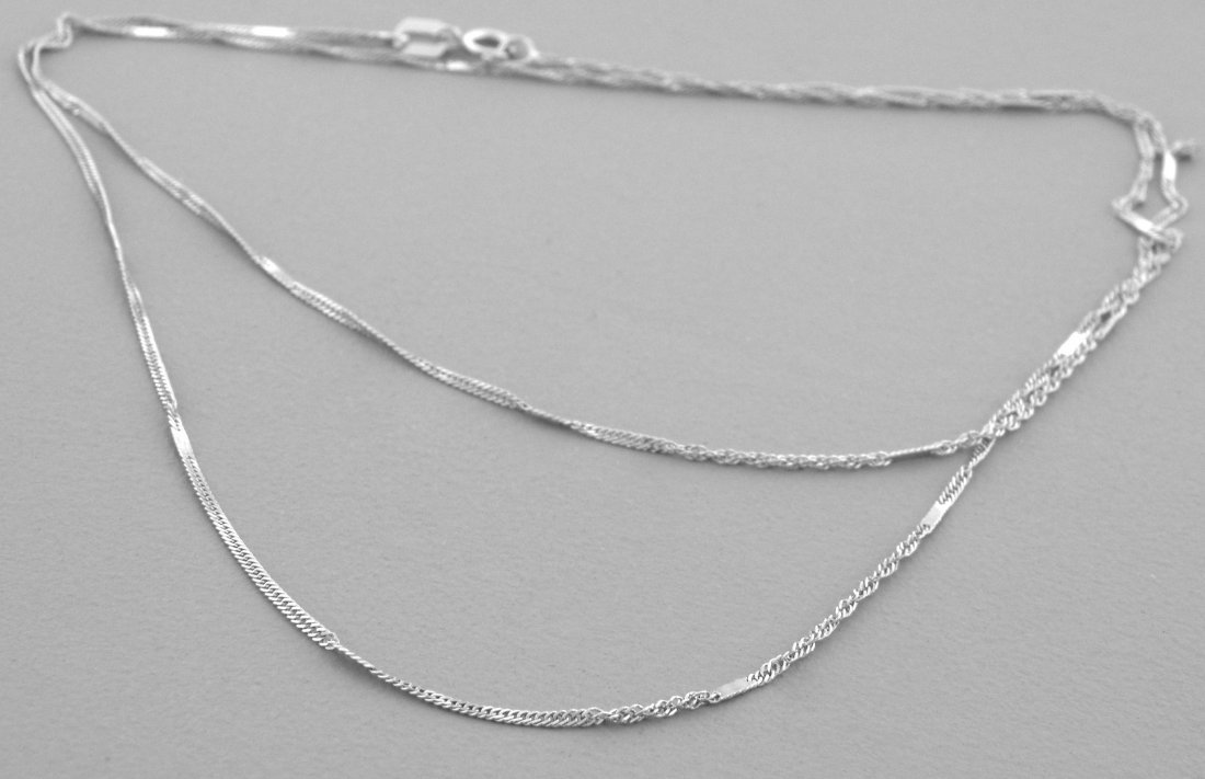 """NEW 14K WHITE GOLD MIRROR SINGAPORE CHAIN NECKLACE 20"""""""