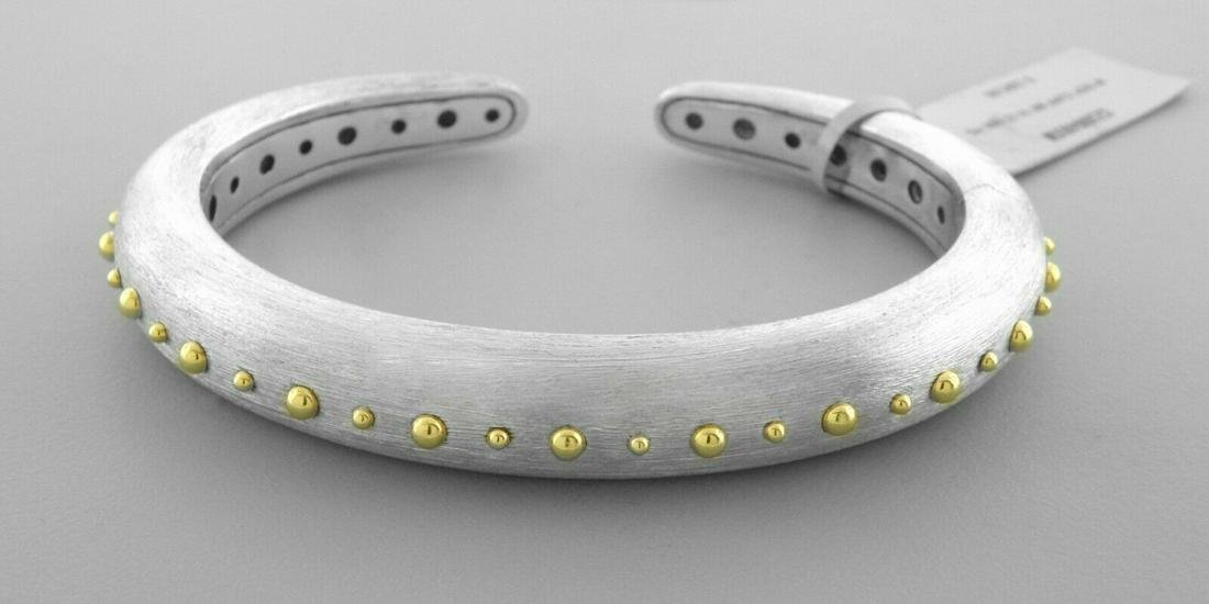 NEW JOHN HARDY 18K GOLD STERLING SILVER DOT HINGED CUFF