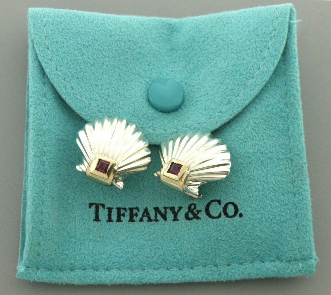 TIFFANY & Co. 14K STERLING SILVER RUBY SHELL EARRINGS