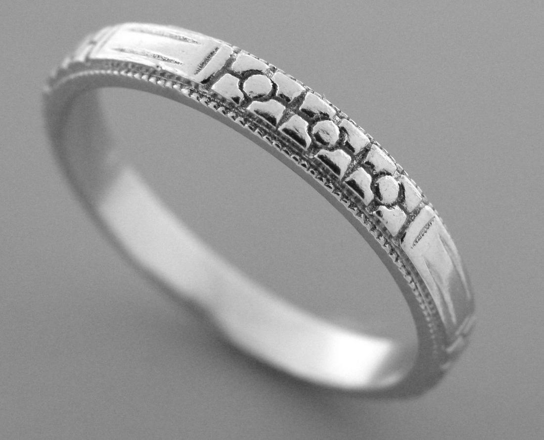 VINTAGE PLATINUM RING FULL ETERNITY WEDDING BAND SIZE 5