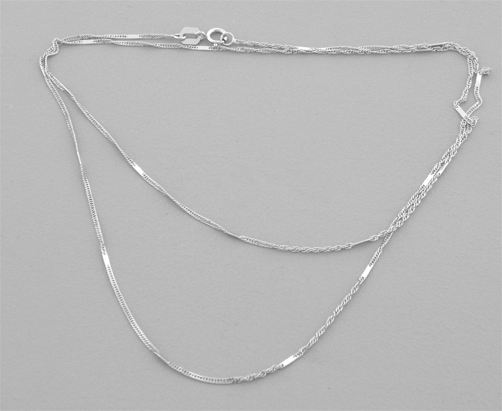 """NEW 14K WHITE GOLD MIRROR SINGAPORE CHAIN NECKLACE 18"""""""