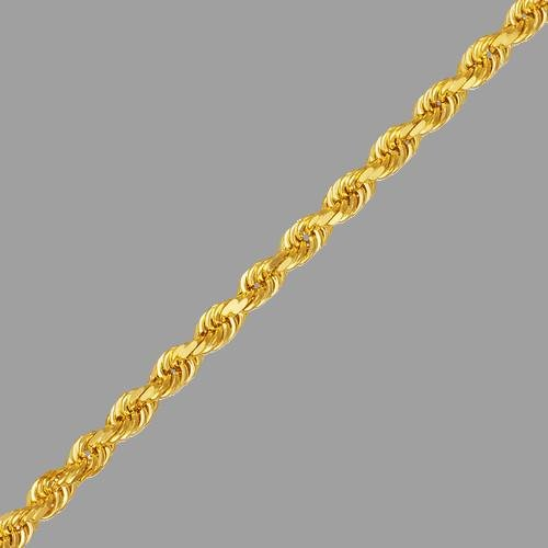 """14K YELLOW GOLD ROPE CHAIN NECKLACE 6mm - 24"""" - 61g"""