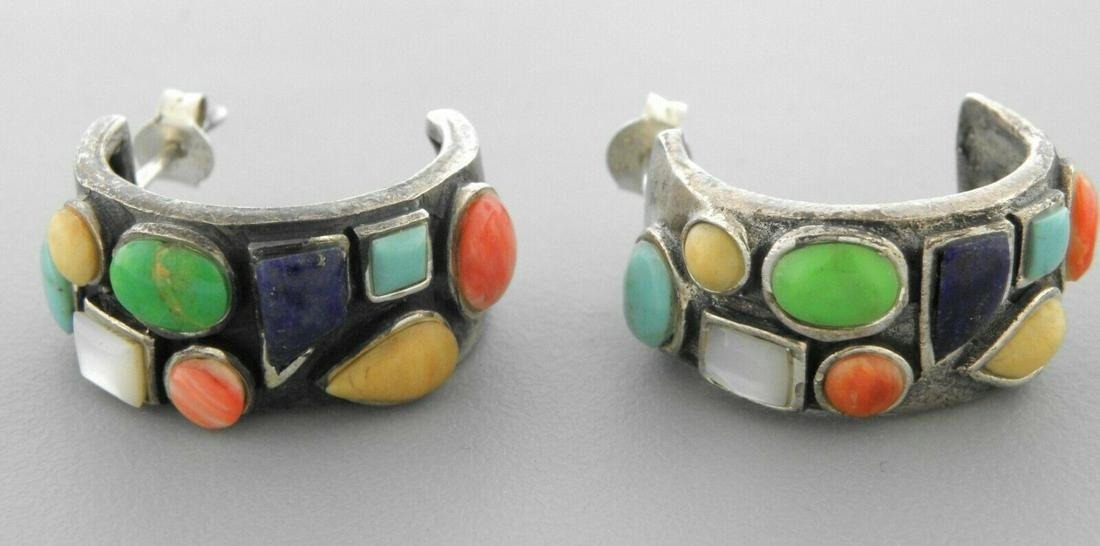VINTAGE SILVER TURQUOISE LAPIS CORAL AMBER MOP EARRINGS