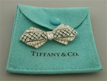 VINTAGE TIFFANY & CO PLATINUM BOW 3ct DIAMOND BROOCH