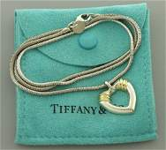 TIFFANY  Co 18K STERLING SILVER HEART NECKLACE POUCH