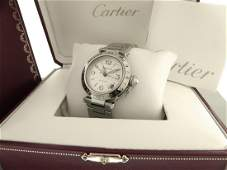CARTIER PASHA GMT STAINLESS STEEL 2377 AUTOMATIC WATCH