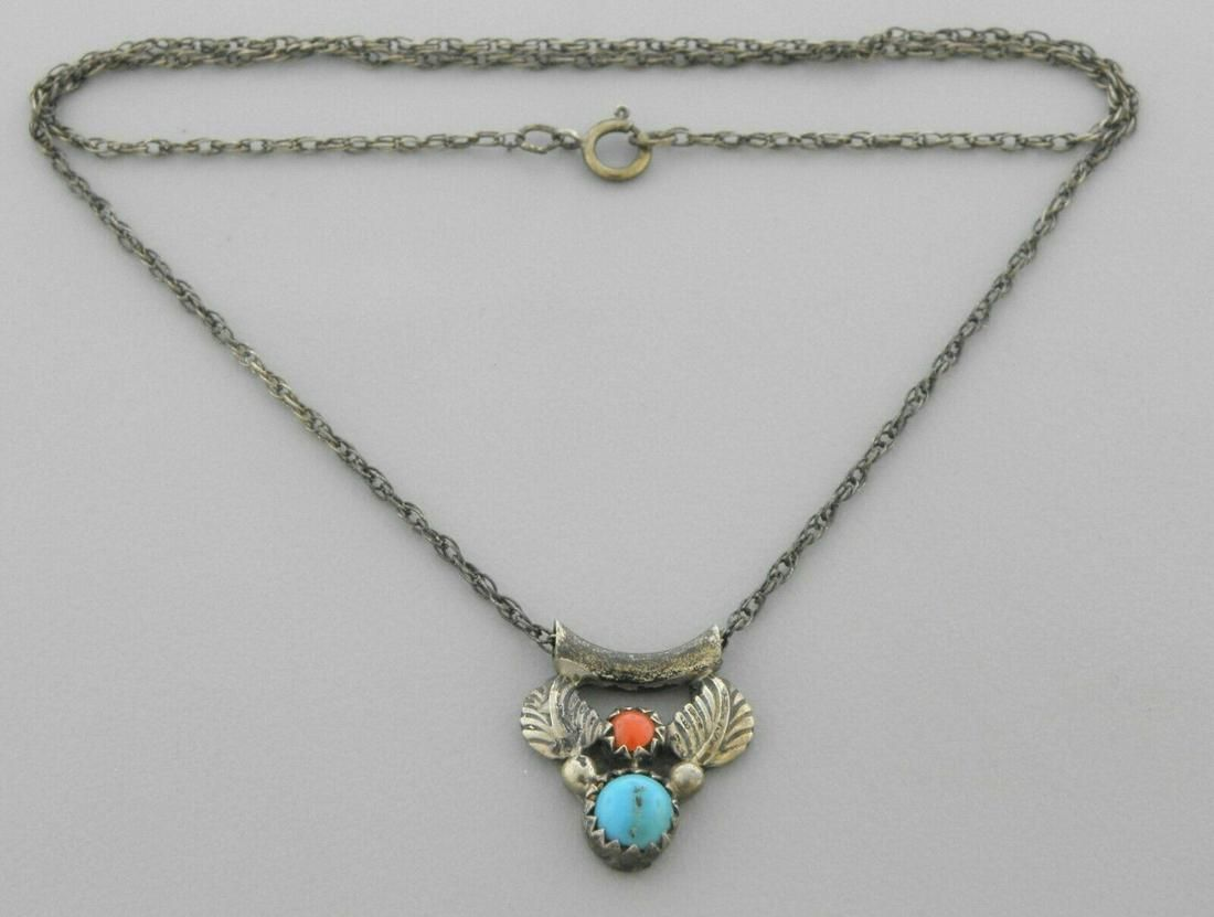VINTAGE NAVAJO STERLING SILVER CORAL TURQUOISE NECKLACE