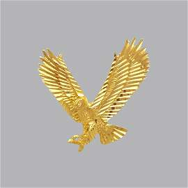 NEW 14K YELLOW GOLD FANCY LARGE EAGLE PENDANT