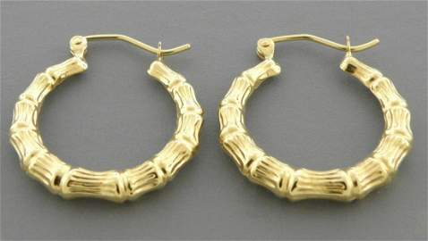 14K YELLOW GOLD BAMBOO HOOP TUBE EARRINGS 3.5mm