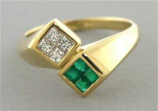 14K YELLOW GOLD DIAMOND & EMERALD LADIES BYPASS RING