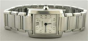CARTIER TANK FRANCAISE DIAMOND DIAL STAINLESS WATCH