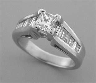 VINTAGE 1ct PLATINUM DIAMOND ENGAGEMENT RING SOLITAIRE