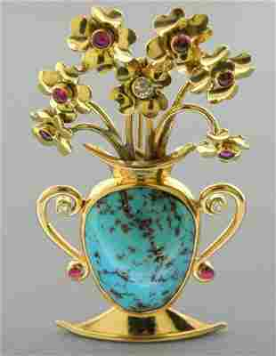 VINTAGE 14K YELLOW GOLD DIAMOND TURQUOISE RUBIES BROOCH