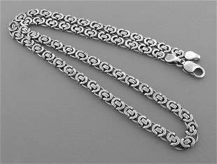 FLAT BYZANTINE CHAIN STERLING SILVER NECKLACE MEN 28""